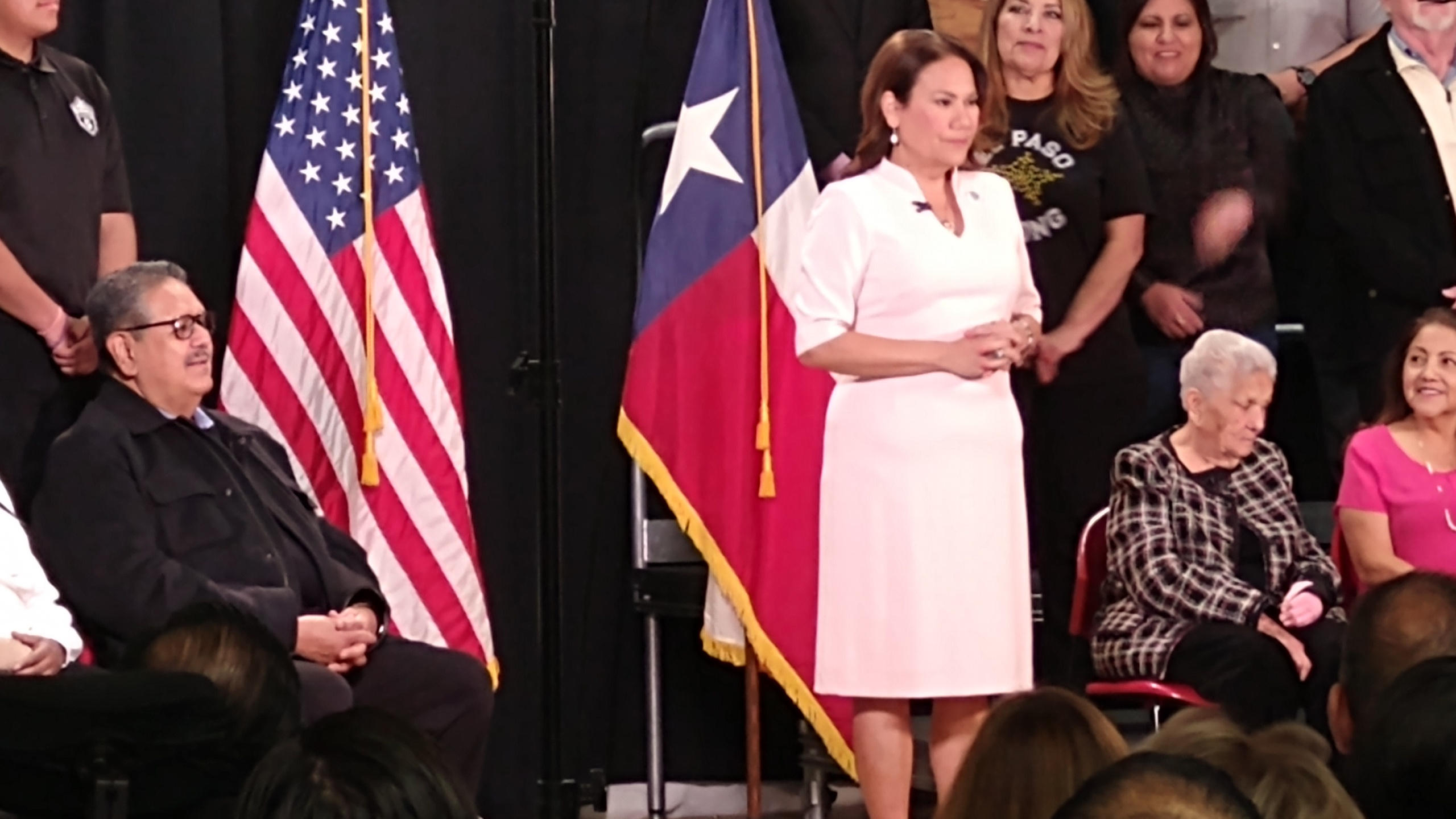 U.S. Rep. Veronica Escobar (D-Texas) takes center stage at an El Paso, Texas low-income health clinic to respond to President Trump's State of the Union address. (Border Report/Julian Resendiz)