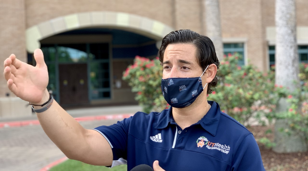 Mike Patriarca speaks about responding to coronavirus in South Texas on Aug. 19, 2020 (Border Report Photo/Sandra Sanchez)