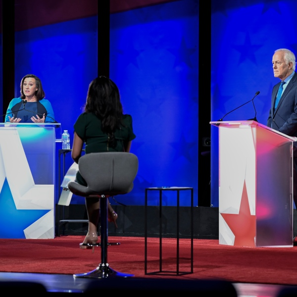 Austin, TX October 9, 2020: Republican U.S. Sen. John Cornyn of Texas and Democratic clhallenger MJ Hegar of Round Rock face off in a Nexstar televised debate Friday night at the Bullock Texas State History Museum. Hegar is slightly behind the long-time senator in lastest polls late in the campaign. (Photo by Bob Daemmrich/Courtesy Nexstar Media Group)