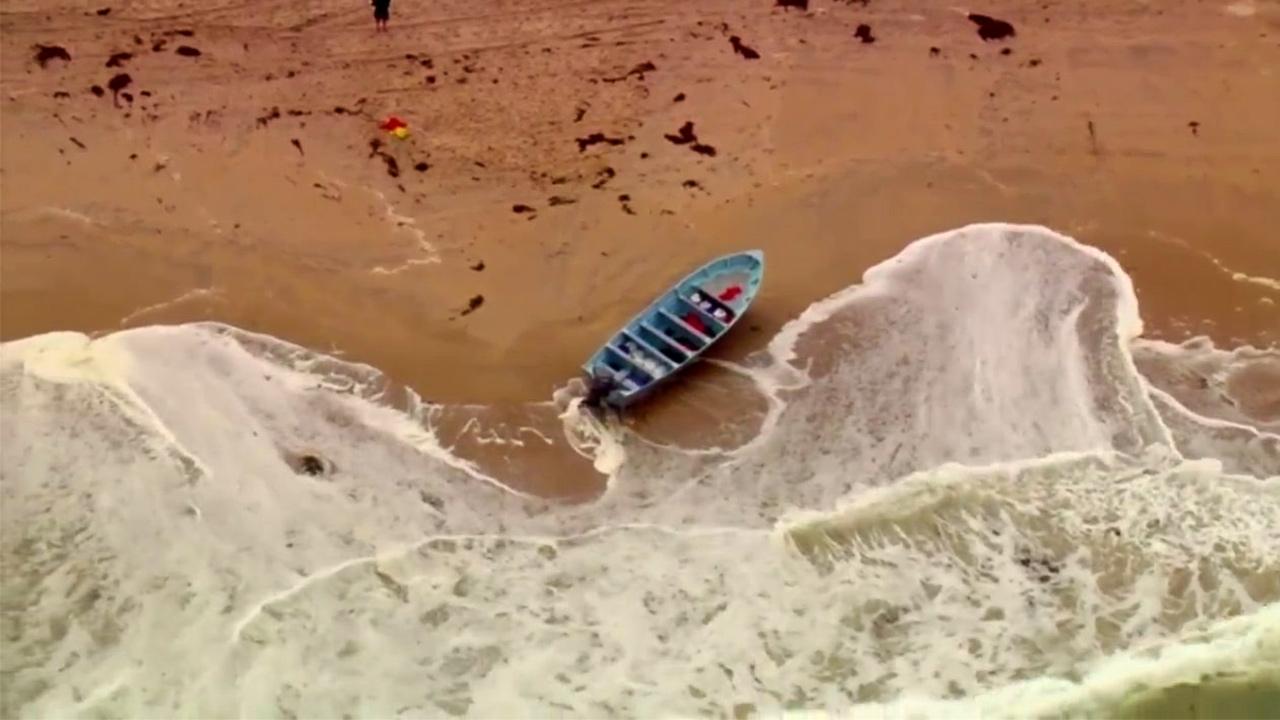 A panga found on Mission Beach May 21, 2021 (KSWB Photo)