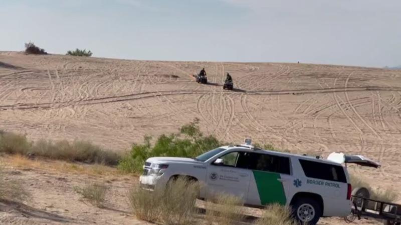 Border Patrol rendered aid to two men in the desert near Sunland Park, New Mexico June 10, 2021 (Border Report Photo/Julian Resendiz)
