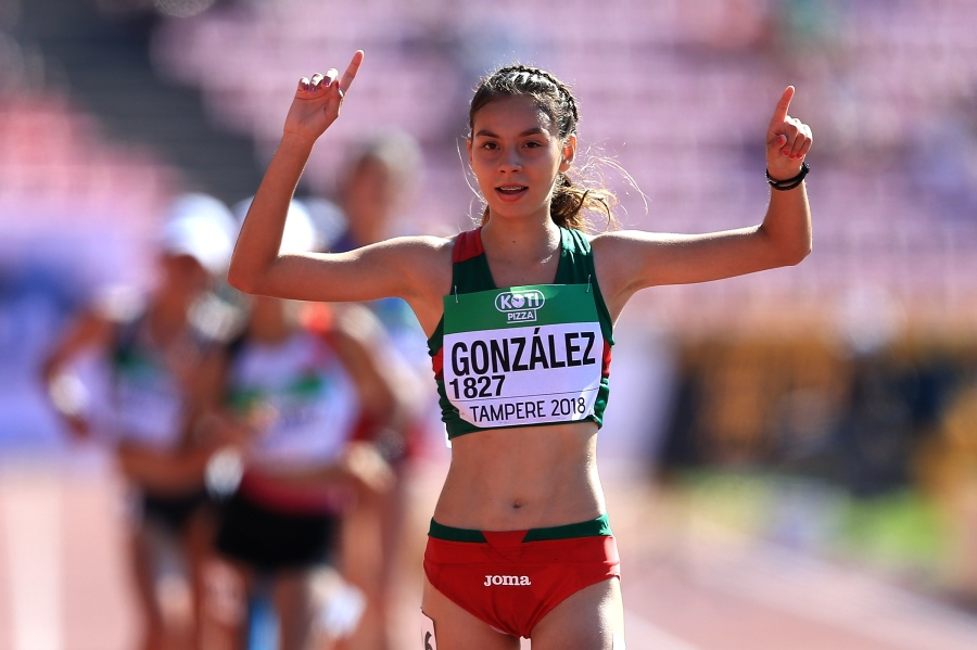 Alegna Gonzalez of Mexico celebrates winning gold in the final of the women's 10,000m walk on day five of The IAAF World U20 Championships on July 14, 2018 in Tampere, Finland. (Photo by Stephen Pond/Getty Images for IAAF)