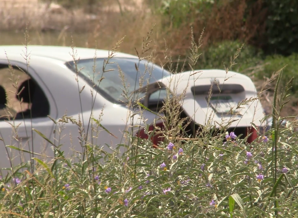 The car where a young woman's body was found in the trunk Monday in Juarez, Mexico. (Border Report photo)